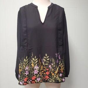 Black Floral Peasant Top